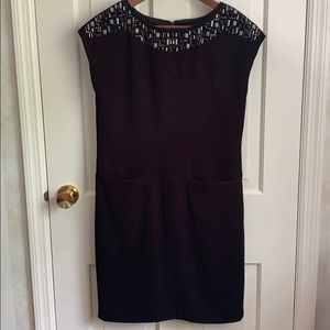 Anne Klein Black Dress with Pockets and Beading